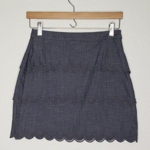 Banana Republic Gray 3 Tier Mini Skirt
